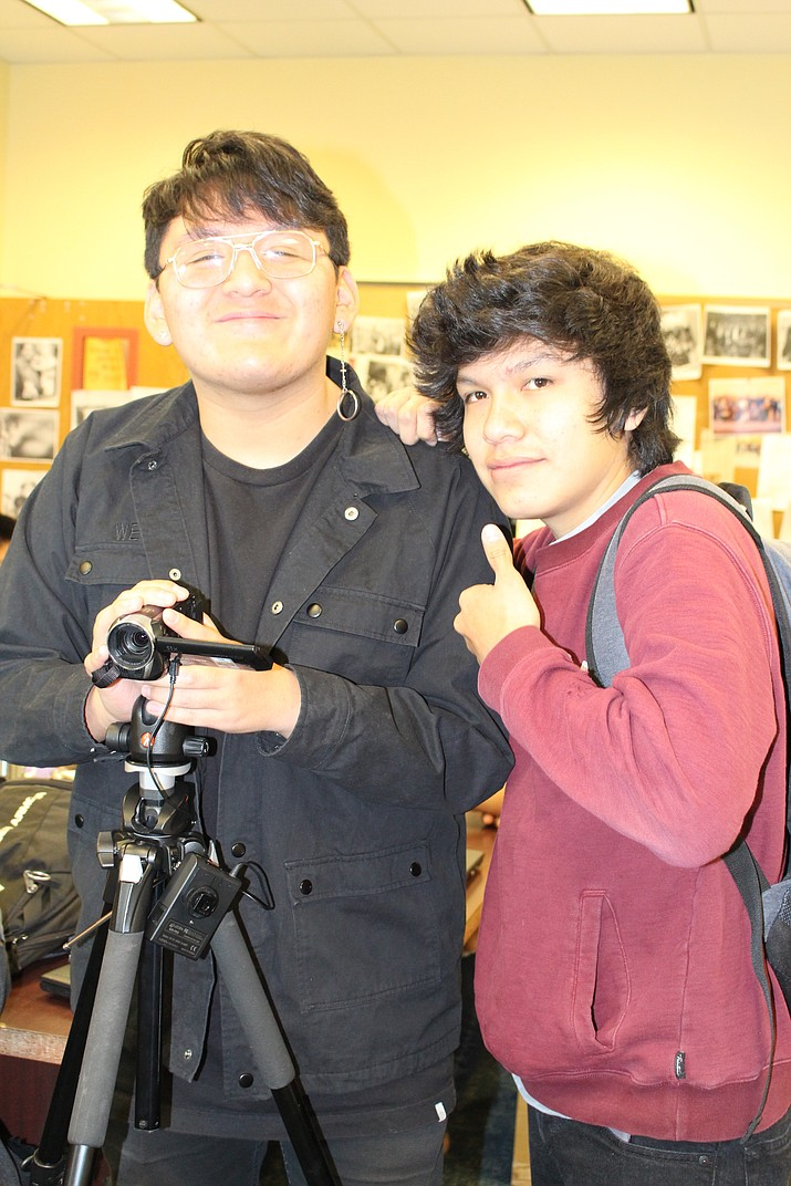 Hopi High media students Gabe Fredericks and Kiyahno Edgewater were accepted to attend the ASU summer media camp June 3-15 in Phoenix. (Stan Bindell/NHO)