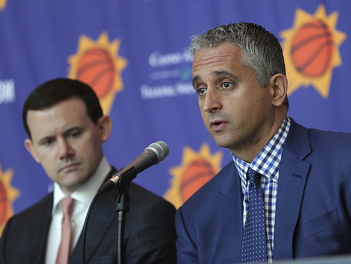Phoenix Suns head coach Igor Kokoskov, right, speaks as general manager Ryan McDonough listens Monday, May 14, 2018, in Phoenix. Kokoskov will oversee a vastly improved team after they compiled the worst record in the NBA last season. (Matt York/AP)