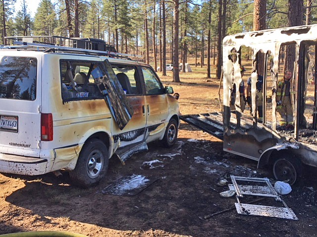 Williams Volunteer Fire Department and Williams Police Department responded to a fire at Dogtown Lake May 5. The trailer had been modified from a utility trailer into a camping trailer. (Williams Volunteer Fire Department)