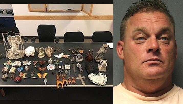 Mark Andrew Benassi, 42, Cottonwood, is accused of stealing more than 40 items from graves sites at the Cottonwood Cemetery and damaging headstones. Photos courtesy of Cottonwood PD