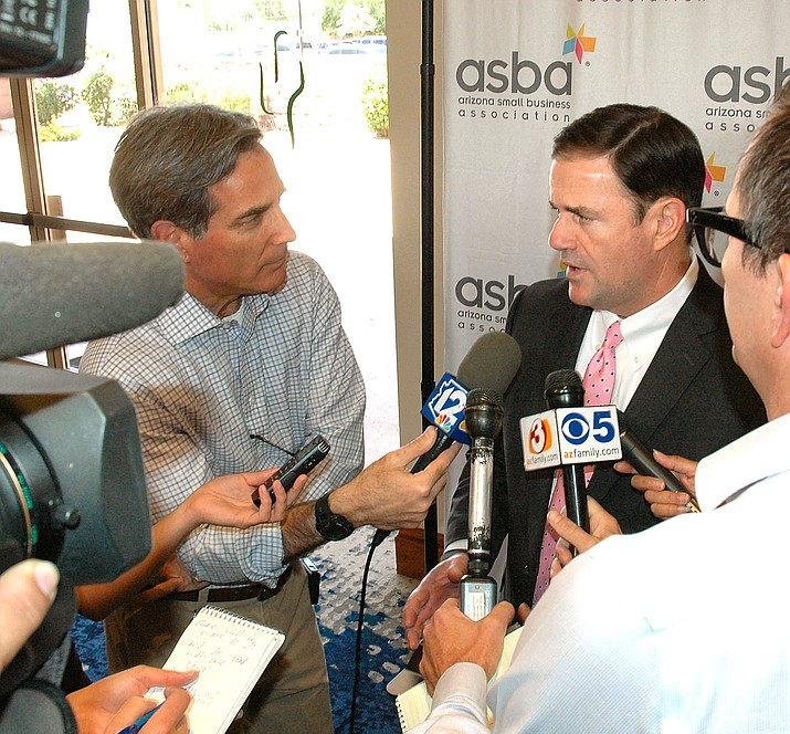 Gov. Doug Ducey answers questions Tuesday, May 15, about his ideas for allowing wagering on sporting events in Arizona, including where people should be able to place their bets. (Howard Fischer/Courtesy)