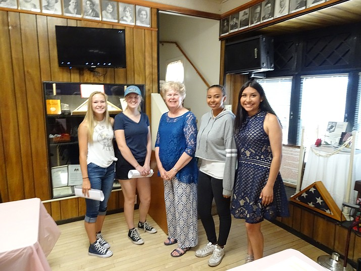 2018 Girls State Delegates from the local area who attended an orientation lunch on April 28 include (left to right) Loren Foster, Chino Valley; Phoebe Dunn, Chino Valley; Lois Cyr, Unit 6 Chairman; Alexis Lara, Prescott Valley and Gema Arrieta, Prescott. (Not in attendance were Sydney Seeley, Prescott and Rebekah Norris, Prescott.)