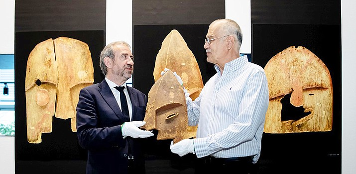 Hermann Parzinger, president of the Prussian Cultural Heritage Foundation, and John Johnson, vice-president of the Alaska Chugach Corporation, at the handing over of the grave goods. (Photo by Felix Zahn/Courtesy the Ethonological Museum)