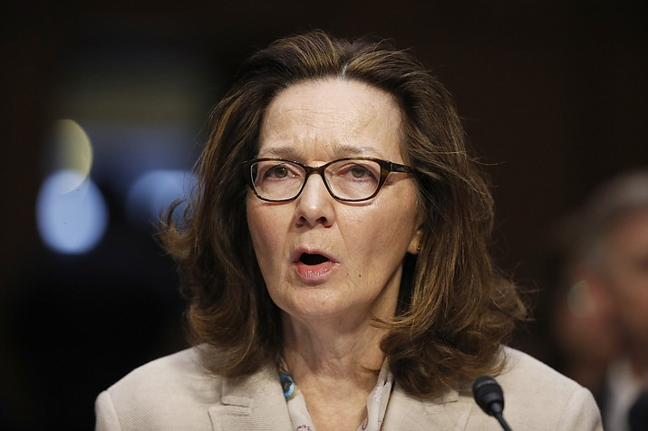 In this May 9, 2018, file photo, CIA nominee Gina Haspel testifies during a confirmation hearing of the Senate Intelligence Committee on Capitol Hill in Washington. The political schism in the Democratic Party is playing out in the vote for Haspel, as support from red-state senators facing re-election is bumping up against a more liberal flank eyeing potential 2020 presidential bids who reject of the nominee over the agency's clouded history of torture. (AP Photo/Alex Brandon, File)