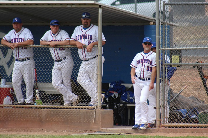 Camp Verde head baseball coach Will Davis (33) led the Cowboys to a tie for first place in the region despite losing 10 seniors from last year's team and having no seniors this season. (VVN/James Kelley)