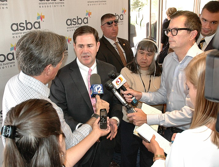 Gov. Doug Ducey answers questions Tuesday about his ideas for allowing wagering on sporting events in Arizona, including where people should be able to place their bets.