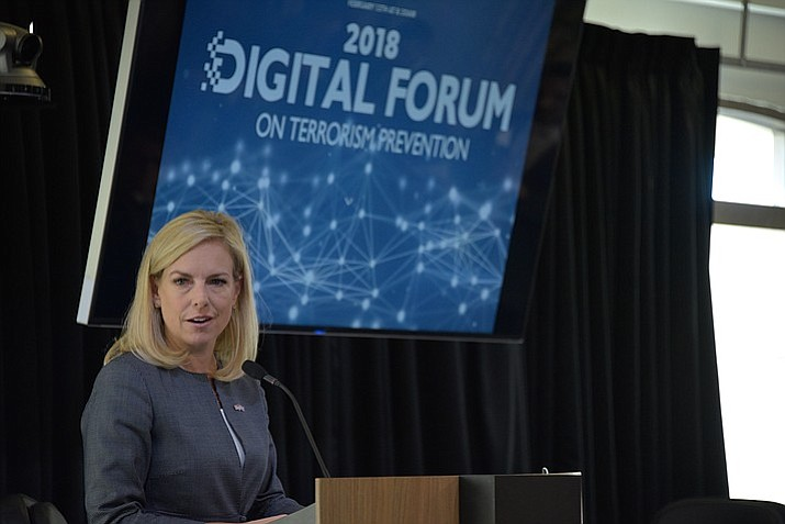 Secretary of Homeland Security Kirstjen Nielsen delivers remarks during the 2018 Digital Forum on terrorism prevention in Palo Alto, California, Feb. 13, 2018. Secretary Nielsen was joined by U.K. Home Secretary Amber Rudd. (Official DHS photo by Jetta Disco)