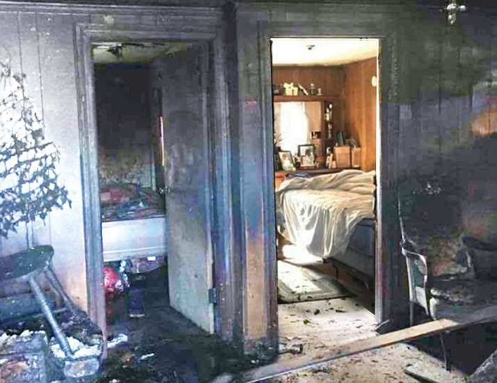 This photo, which has been widely circulated on Facebook, shows how much difference a closed bedroom door can make in case of a fire. (Courtesy)