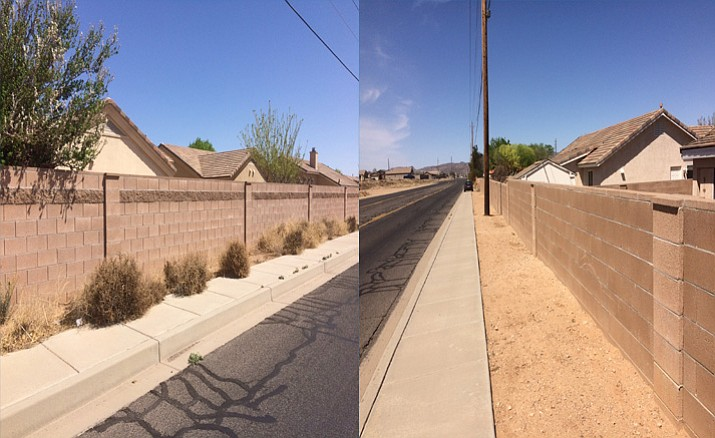 The before and after of the stretch on Airway Avenue that Sandy Byers and one of his neighbors clean up on their own volition.