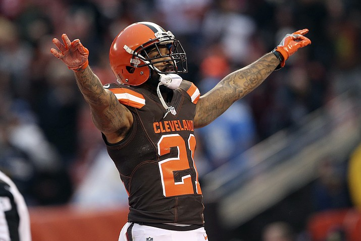 In this Dec. 24, 2016, file photo, Cleveland Browns' Jamar Taylor gestures during an NFL football game against the San Diego Chargers in Cleveland. (Aaron Josefczyk/AP, File)