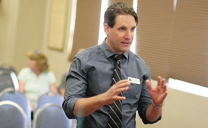 Cottonwood Middle School Principal Matt Schumacher asked the Cottonwood-Oak School Board on Tuesday to consider renaming his school Cottonwood Community School. The school, which currently serves students in grades 6-8, will become a K-8 school beginning with the 2018-2019 school year. (Photo by Bill Helm)