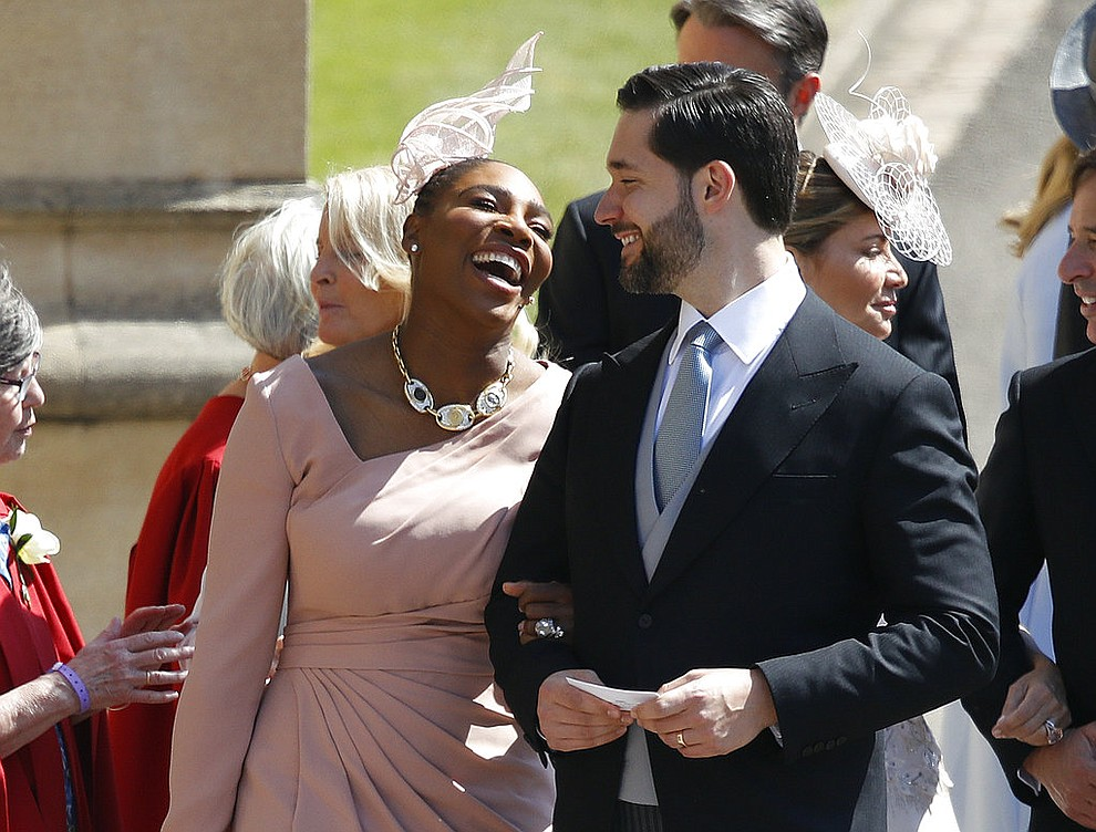 Serena Williams and her husband Alexis Ohanian arrive for the wedding ceremony of Prince Harry and Meghan Markle at St. George's Chapel in Windsor Castle in Windsor, near London, England, Saturday, May 19, 2018. (Odd Anderson/pool photo via AP)