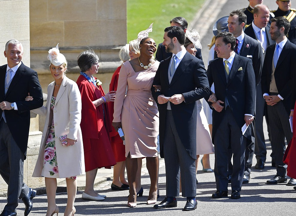 Serena Williams arrives with her husband Alexis Ohanian arrive for the wedding ceremony of Prince Harry and Meghan Markle at St. George's Chapel in Windsor Castle in Windsor, near London, England, Saturday, May 19, 2018. (Toby Melville/pool photo via AP)