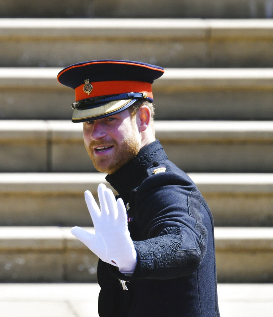 Britain's Prince Harry arrives for his wedding to Meghan Markle at St. George's Chapel in Windsor Castle in Windsor, near London, England, Saturday, May 19, 2018. (Ben Birchhall/pool photo via AP)