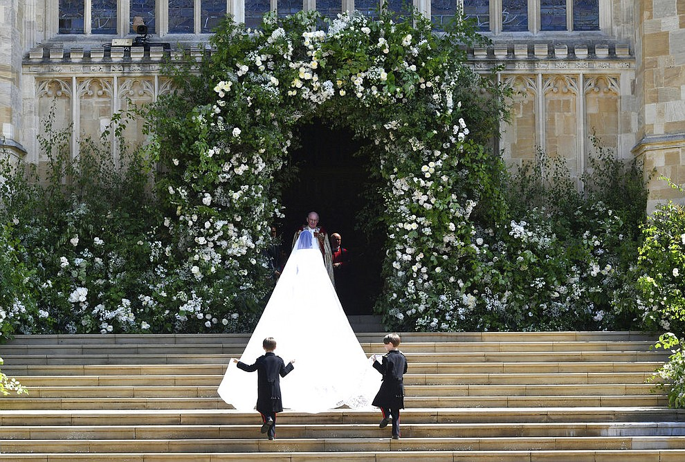 Meghan Markle and her bridal party arrive for the the wedding ceremony of Prince Harry and Meghan Markle at St. George's Chapel in Windsor Castle in Windsor, near London, England, Saturday, May 19, 2018. (Ben Birchhall/pool photo via AP)
