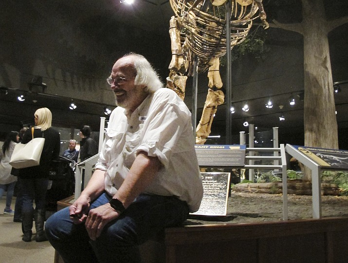 "In this May 21, 2016, file photo, Jack Horner sits under Montana's T-Rex in the Museum of the Rockies in Bozeman, Mont. The Montana paleontologist, Horner, who consulted with director Steven Spielberg on the ""Jurassic Park"" movies is developing a three-dimensional hologram exhibit that will showcase the latest theories on what dinosaurs looked like. Horner and entertainment company Base Hologram are aiming to have multiple traveling exhibits ready to launch in spring 2018. (AP Photo/Matt Volz, File)"