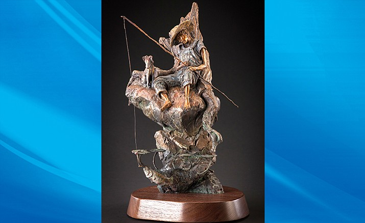 "One of the new featured scultures this month is "" When Dreams Come True,"" one of the newest bronze sculptures by artist and gallery owner Ken Rowe. The sculpture features a napping boy fishing for an intrepid largemouth bass while the boy's faithful dog keeps watch over the scene."