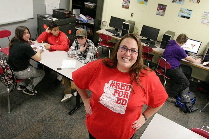 "There's ""nothing boring"" about teaching, said Mingus Union High School teacher Katherine Forbes. For Forbes, it's the challenges each day ""to be the best role model for my students, to inspire them to think outside the box, to push them to be the best they can be."" (Photo by Bill Helm)"