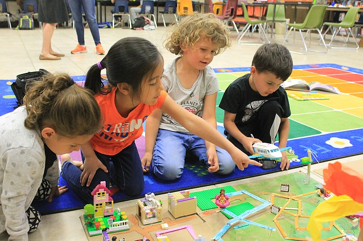 Paisley Orozco, Veronica Martinez, Brooklynn Admire and Treston Orozco play with Legos during one of their last days of preschool at Williams Elementary-Middle School May 16. (Wendy Howell,WGCN)