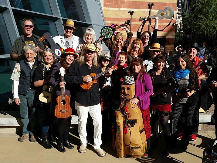 """The Jerome Ukulele Orchestra was founded by Tommy """"Rocks"""" Anderson, a multi-instrumentalist and owner of the music shop Tommy Rocks in Jerome, in January 2015 with the simple concept of bringing people together through playing music."""