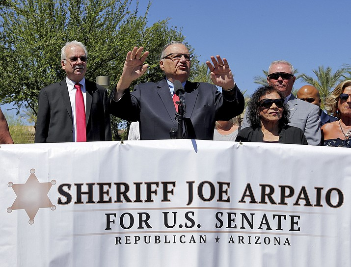 Former Arizona Sheriff Joe Arpaio speaks Tuesday at the Arizona Capitol in Phoenix prior to turning in petition signatures to the Arizona Secretary of State in his bid to appear on the ballot in the race to succeed retiring U.S. Sen. Jeff Flake. (Matt York/AP Photo)