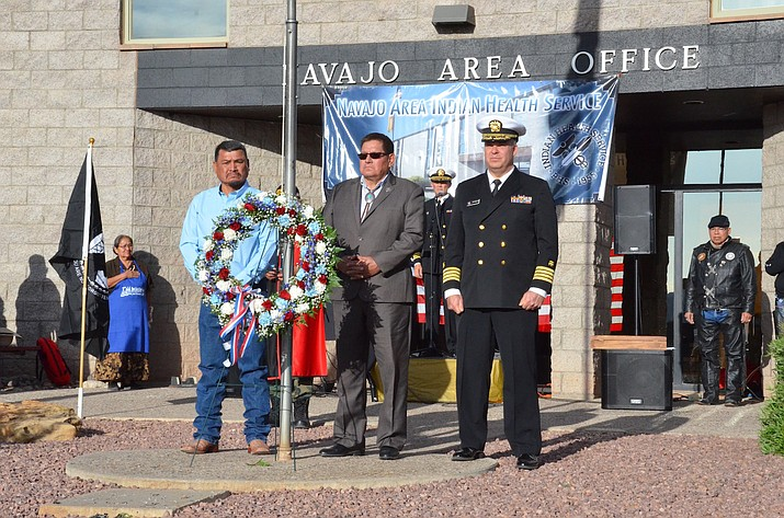 From left: Navajo Nation Council Delegate Tom Chee, Navajo Nation Speaker LoRenzo Bates and Navajo Area IHS acting director Brian Johnson attend the opening ceremony for the 16th Annual Lori Piestewa Navajo Hopi Honor Ride in St. Michaels, Arizona May 16. (Navajo Nation Council)