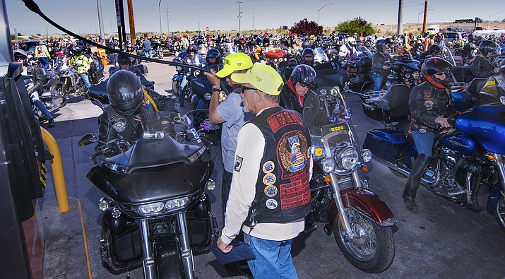 Run For The Wall riders passed through Winslow on Route 66 May 17. Flying J Truck Stop was closed at 9:45 a.m. to cars and trucks in order to accommodate riders. (Todd Roth/NHO)
