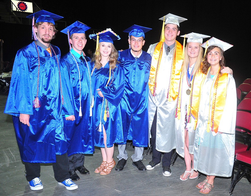 Bradley Nelson Trevor Kuntz, Paige Achten, Kaleb Chacon, Wyatt Dodds, Kaelyn Darst and Rebecca Tupper before the Chino Valley Commencement held Wednesday, May 23, 2018 at the Prescott Valley Event Center. (Les Stukenberg/Courier)