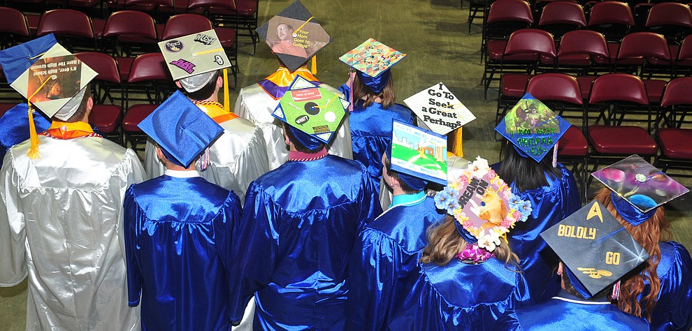 Decorated mortar boards before the Chino Valley Commencement held Wednesday, May 23, 2018 at the Prescott Valley Event Center. (Les Stukenberg/Courier)