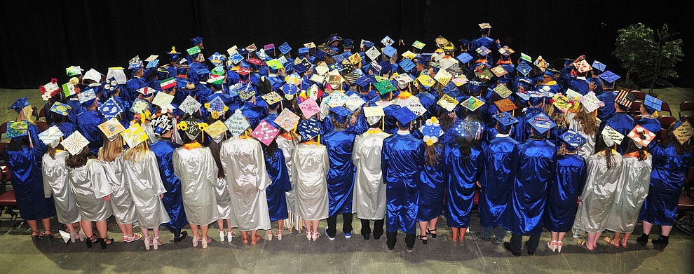 The Class of 2018 and their decorated mortar boards before the Chino Valley Commencement held Wednesday, May 23, 2018 at the Prescott Valley Event Center. (Les Stukenberg/Courier)