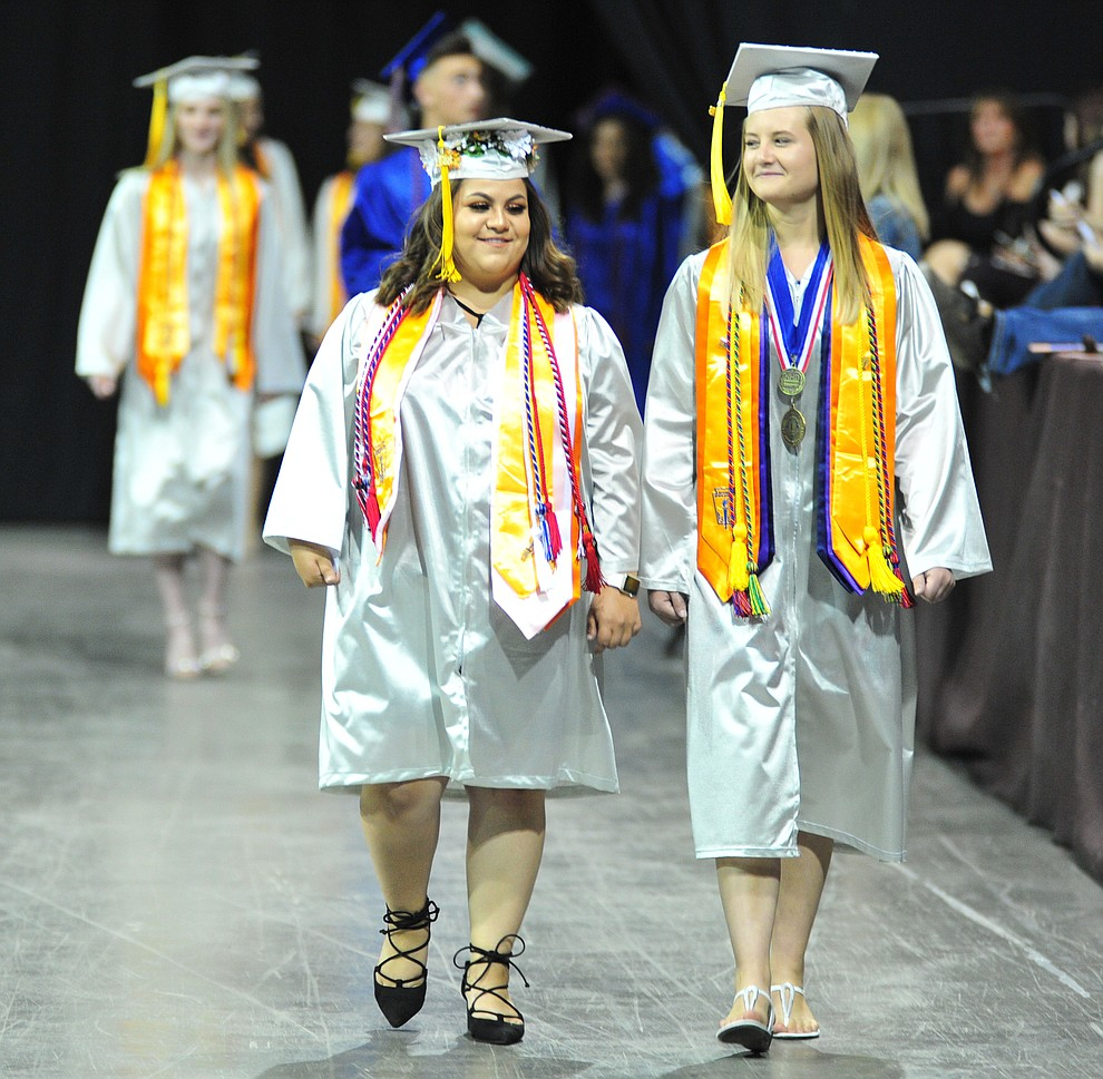Walking in the processional at the Chino Valley Commencement held Wednesday, May 23, 2018 at the Prescott Valley Event Center. (Les Stukenberg/Courier)