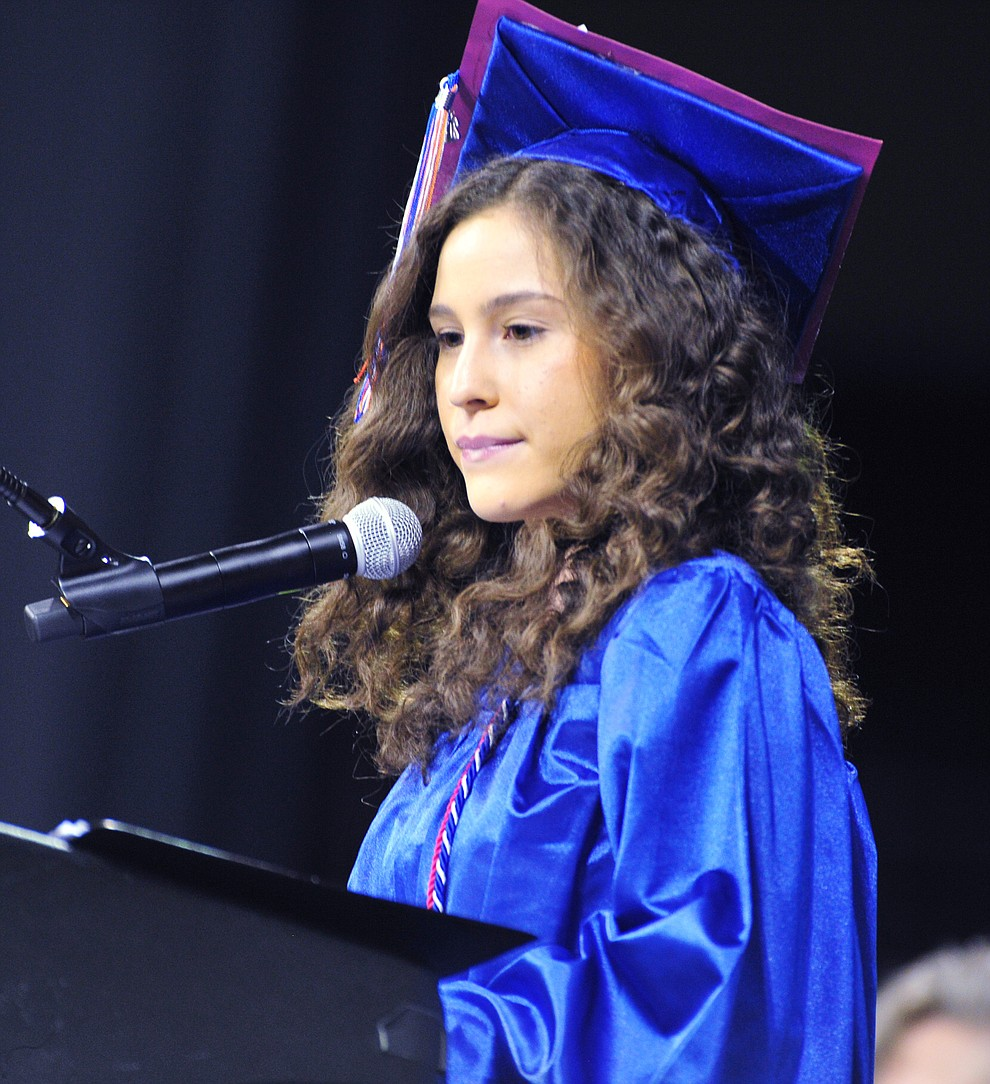 Student Body President Yenifer Gomez speaks at the Chino Valley Commencement held Wednesday, May 23, 2018 at the Prescott Valley Event Center. (Les Stukenberg/Courier)