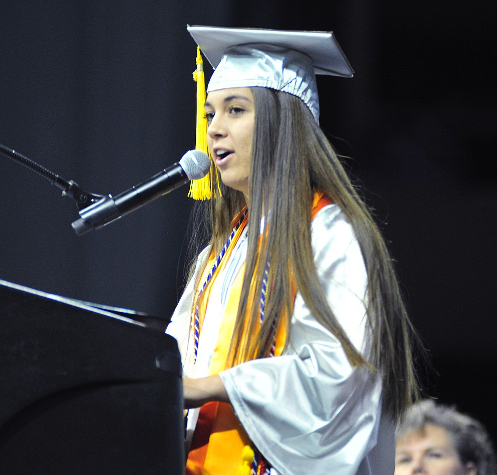 Senior Class President Rocky Rodriguez speaks at the Chino Valley Commencement held Wednesday, May 23, 2018 at the Prescott Valley Event Center. (Les Stukenberg/Courier)