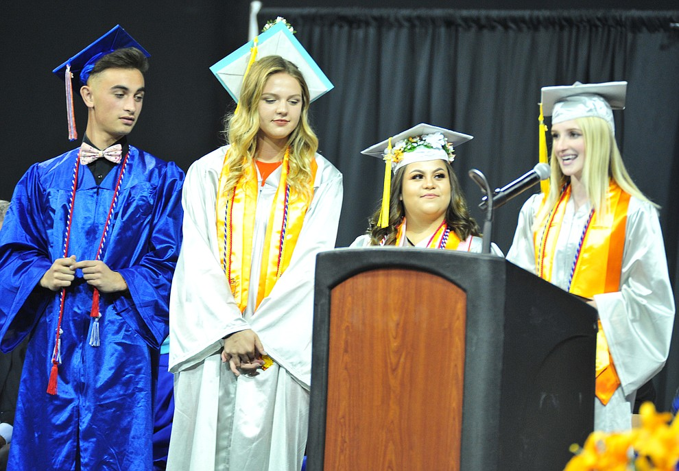 Student Council Seniors speak at the Chino Valley Commencement held Wednesday, May 23, 2018 at the Prescott Valley Event Center. (Les Stukenberg/Courier)