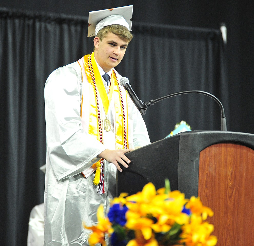 Salutatorian Chase Call speaks at the Chino Valley Commencement held Wednesday, May 23, 2018 at the Prescott Valley Event Center. (Les Stukenberg/Courier)