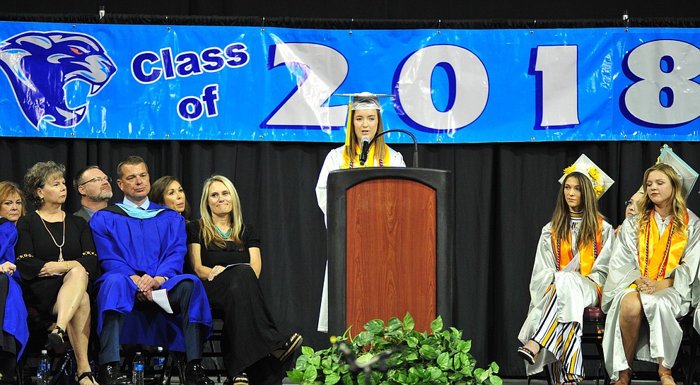 Valedictorian Alaina Rowitsch speaks at the Chino Valley Commencement held Wednesday, May 23, 2018 at the Prescott Valley Event Center. (Les Stukenberg/Courier)