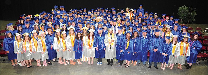 The 172 members of the Chino Valley High School Class of 2018 just before Commencement at the Prescott Valley Event Center Wednesday, May 23, 2018. Pick up Friday's Courier for the annual graduation special section. (Les Stukenberg/Courier)