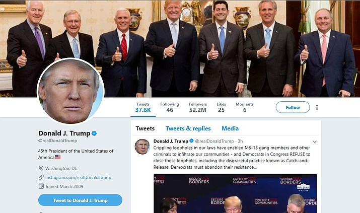 A screenshot of President Donald Trump's Twitter page. A judge has ruled that the president cannot block critics on Twitter.