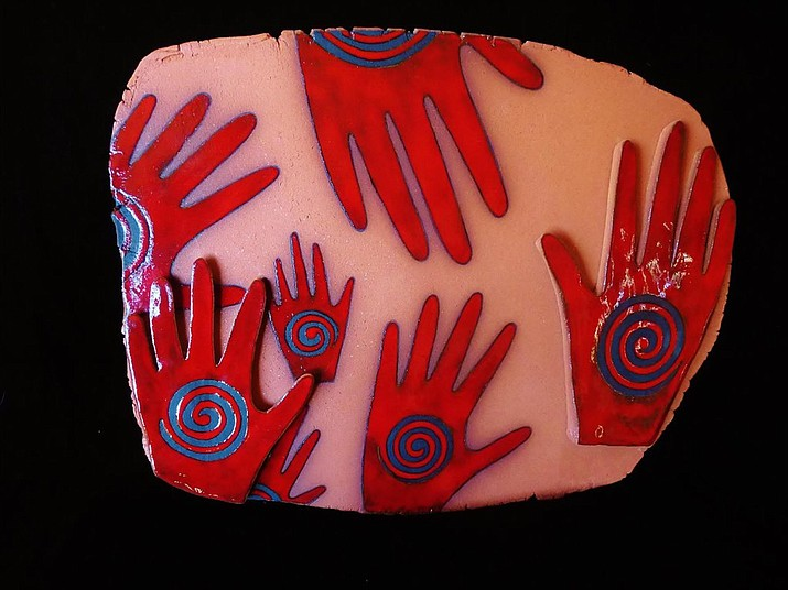 """Many Hands"" by Mariann Leahy, ceramic, 13"" x 17"". To be unveiled on 1st Friday at Turquoise Tortoise, A Bryant Nagel Gallery in Sedona."