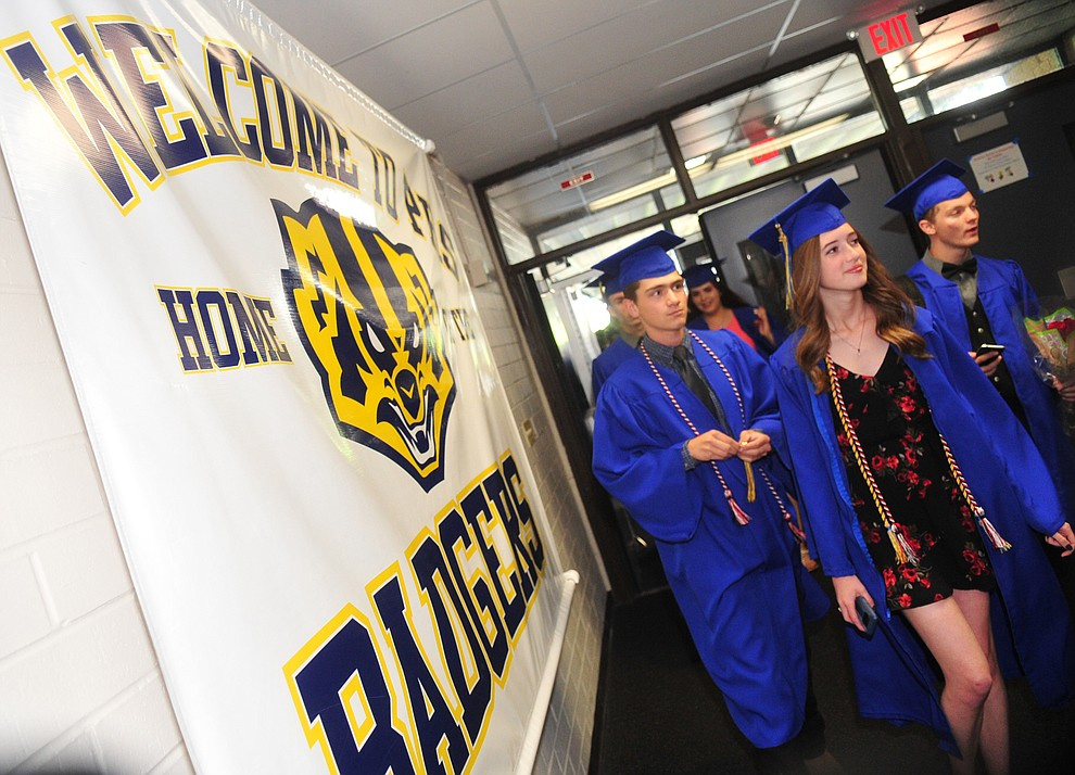 Students arrive before the 2018 Prescott High School Commencement Ceremony at the school Friday, May 25, 2018. (Les Stukenberg/Courier)