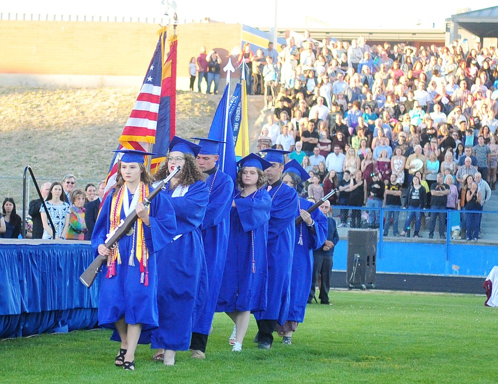The Air Force JROTC presnts the colors during the 2018 Prescott High School Commencement Ceremony at the school Friday, May 25, 2018. (Les Stukenberg/Courier)
