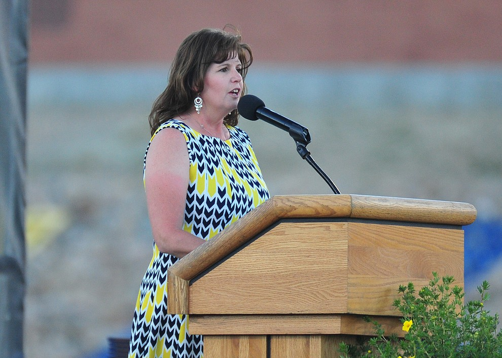 Principal Stephanie Hillig speaks during the 2018 Prescott High School Commencement Ceremony at the school Friday, May 25, 2018. (Les Stukenberg/Courier)