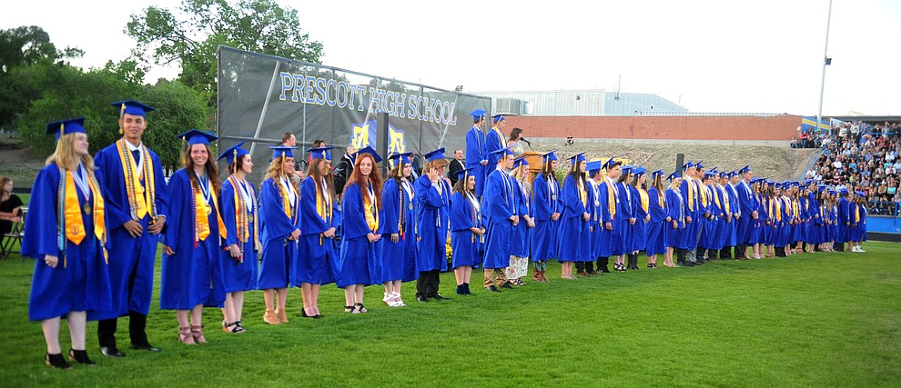 There were 48 Graduates with Distinction honored during the 2018 Prescott High School Commencement Ceremony at the school Friday, May 25, 2018. (Les Stukenberg/Courier)