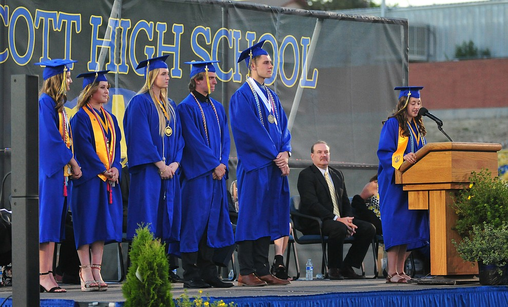 Student body and senior class officers speak during the 2018 Prescott High School Commencement Ceremony at the school Friday, May 25, 2018. (Les Stukenberg/Courier)