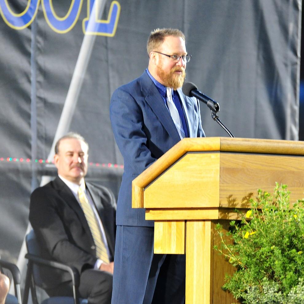 Superintendent Joe Howard speaks during the 2018 Prescott High School Commencement Ceremony at the school Friday, May 25, 2018. (Les Stukenberg/Courier)