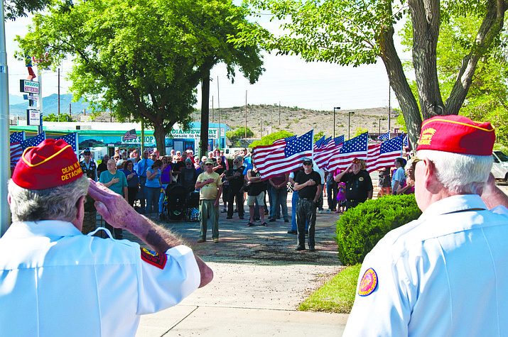 Flag-bearers present the colors at a past Memorial Day service at Veterans Memorial Park in downtown Kingman. The local chapter of Vietnam Veterans of America will pay tribute to fallen soldiers at 9 a.m. today at the park.