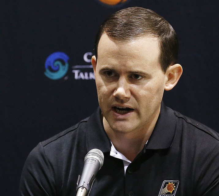 Phoenix Suns general manager Ryan McDonough answers a question during an NBA basketball media day Monday, Sept. 28, 2015, in Phoenix. (Ross D. Franklin/AP, File)