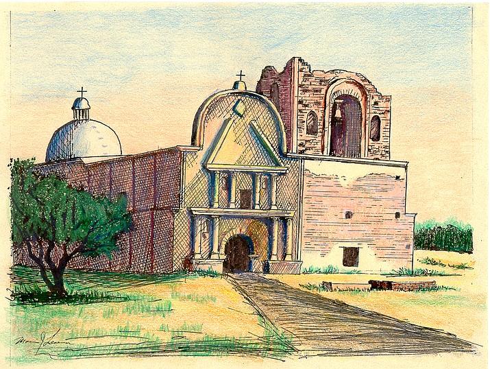 LEFT: Illustration of Tumacacori Mission. (Courtesy of the National Park Service, Tumacacori National Historical Park)