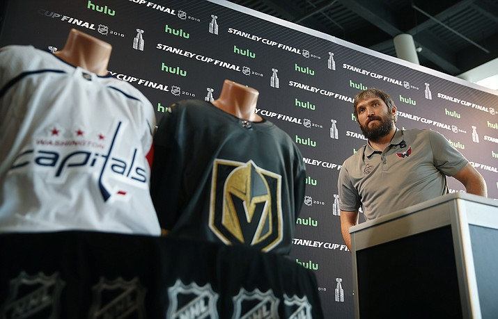Washington Capitals left wing Alex Ovechkin meets with members of the media during an NHL hockey media day for the Stanley Cup, Sunday, May 27, 2018, in Las Vegas. (AP Photo/John Locher)