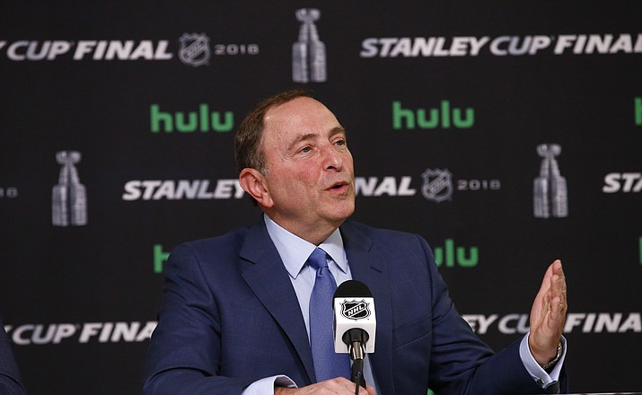 NHL Commissioner Gary Bettman speaks during a news conference prior to Game 1 of the NHL Stanley Cup Final hockey game between the Vegas Golden Knights and the Washington Capitals, Monday, May 28, 2018, in Las Vegas. (AP Photo/Ross D. Franklin)